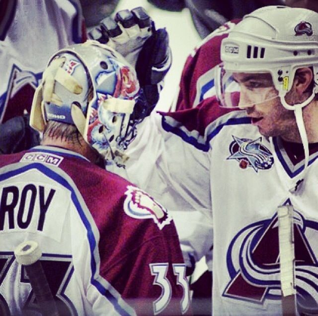 Patrick Roy and Joe Sakic