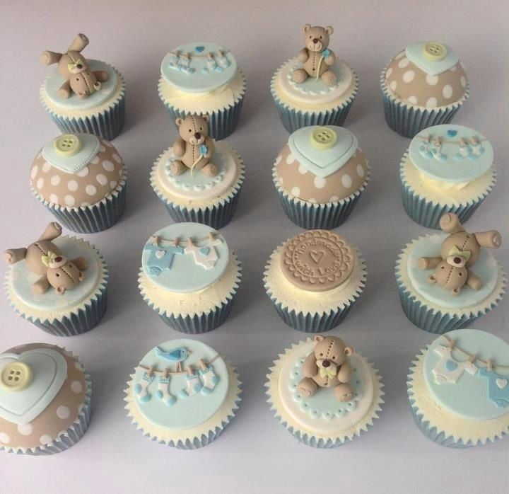 baby shower cupcakes...think mint green and powder blue with little animals...