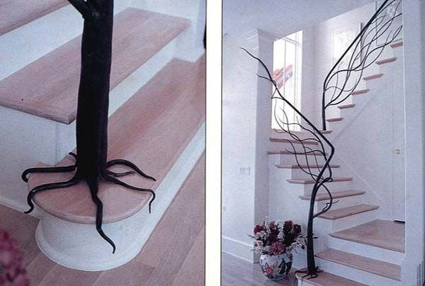 Tree inspired railing decorating idea for nature lover.