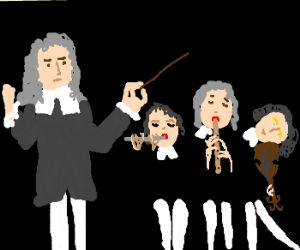 Bach conducts a three-person concert