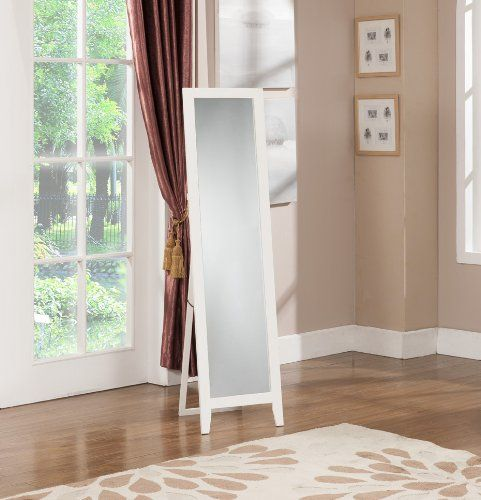 kings brand white finish wood frame floor standing mirror king 39 s brand. Black Bedroom Furniture Sets. Home Design Ideas