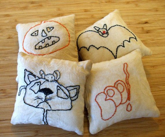 Primitive Halloween Folk Art Embroidered Pillow by Skunkhollow, $10.00