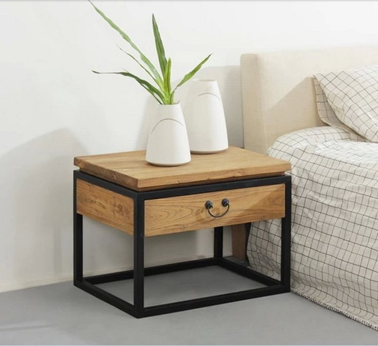 Wonderful Iron Retro Modern Minimalist Wood Bedroom Bedside Nightstand Drawer Storage  Cabinets Layer Nice Look