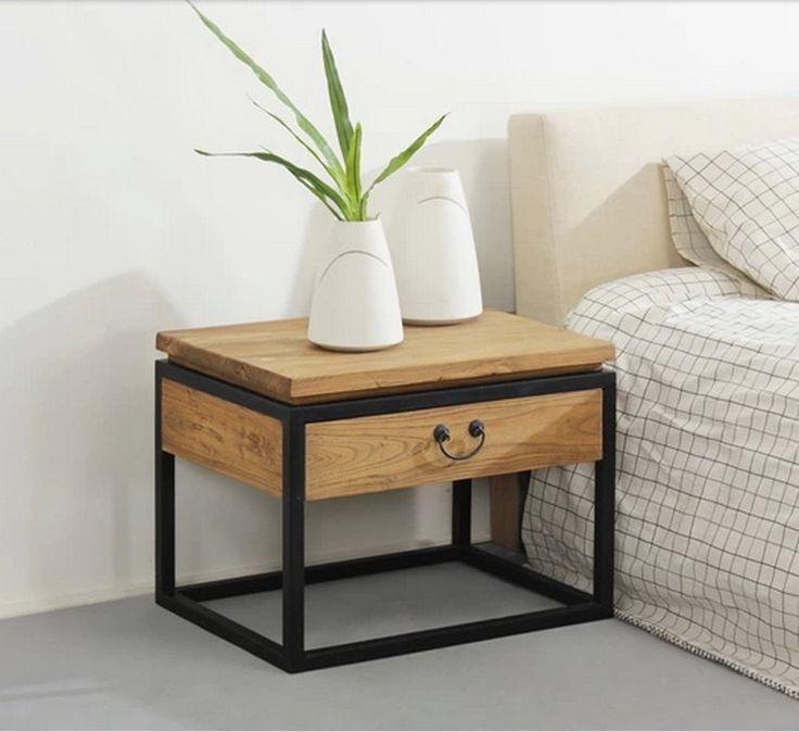 Iron retro modern minimalist wood bedroom bedside nightstand drawer storage cabinets layer