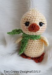 This cute little chick works up quickly with worsted weight yarn and a G (4 mm) crochet hook. Make your chicks in lots of different colors using your scraps.