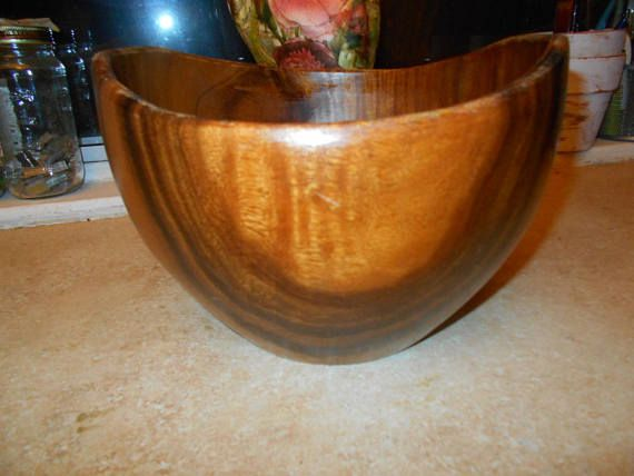 Mid Century  Hand Carved Wood Bowl