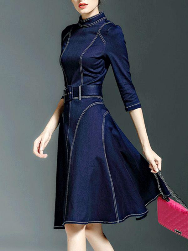 MULTIFLORA Color-block Cotton Midi Dress