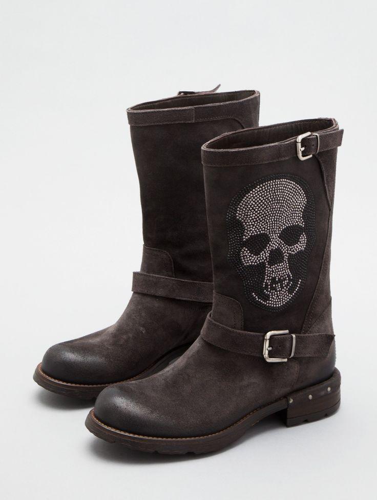 Viking Skull Leather Boots Biker Rider Brown Skeleton Custom Design Unique Boots