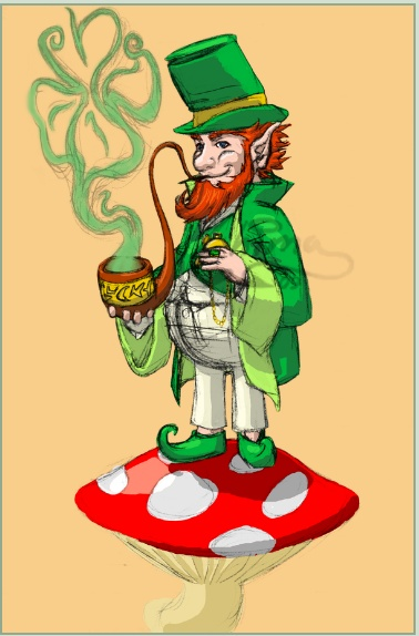 Leprechaun Tattoo design off of Deviant Art - Leprechaun Tattooby ~Chima Designs & Interfaces / Tattoo Design ©2009-2013 ~Chima 'a leprechaun with a twisty-ass awesome pipe. He's gotta be wearing green, and can he be holding one of those awesome pocketwatches?' Designed for Eric K. Inspiration from Charlie Rednosebeerdrinker of Thrump-O-Moto.