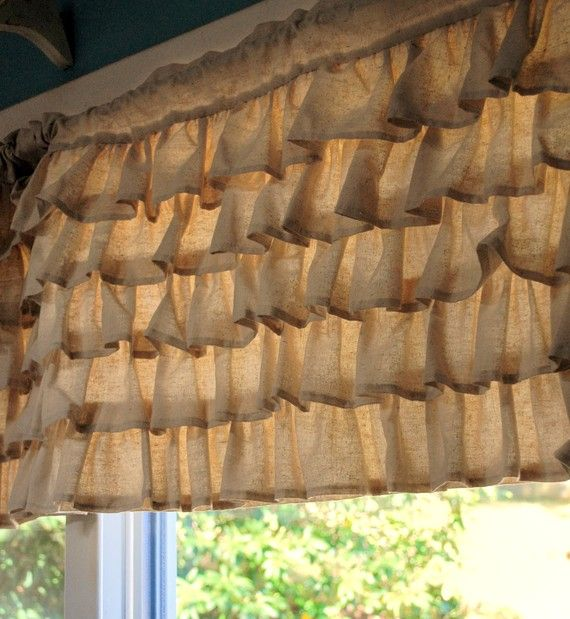 Burlap ruffle curtains to go over my sheer chiffon curtains.: Valances Curtains, Kitchens Window, Burlap Ruffles, White Sheer Curtains, Burlap Curtains, Window Treatments, Bedrooms Decor, Ruffles Curtains, Window Valances