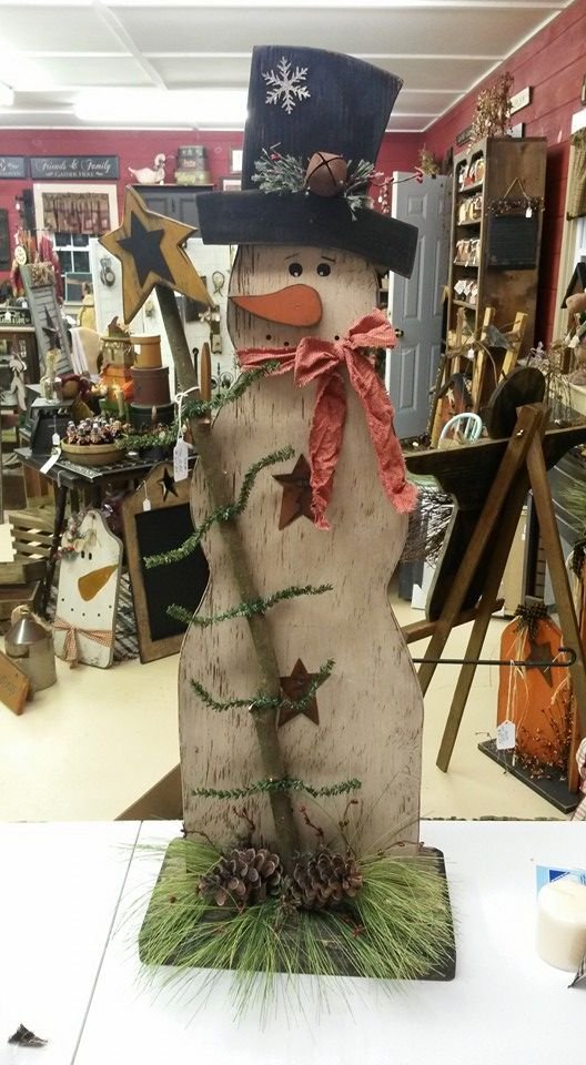 Snowman with Feather Tree