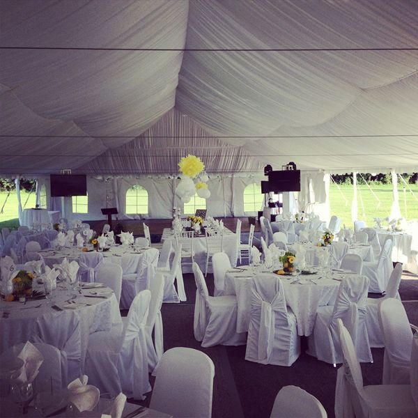 Tent wedding setup at Tralee Wedding Facility Near Orangeville, Ontario