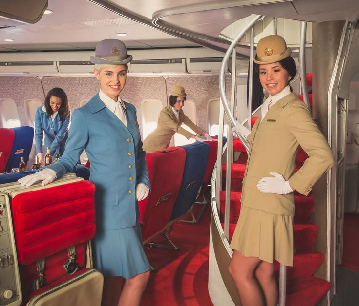 Pan Am (ca.1965) This was my dream.  Great pic - but actually this is from Air Hollywood's recreation of a Pan Am 747 and flight attendant's uniforms are from the 1970's