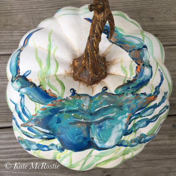 Coastal fall pumpkin| hand painted pumpkin | coastal fall decor | fall decor | chinoiserie pumpkin| fall pumpkins | blue crab decor | pumpkin decor  One of a kind original that would compliment your coastal fall decorating!   Approximate dimensions: 10 wide x 8 1/2 to top of stem    Thank you for visiting my shop! * Copyright of Artworks with artist, even after the sale of original artwork. * Any reproduction of this artwork is prohibited by law without the consent of the artist. Please ...