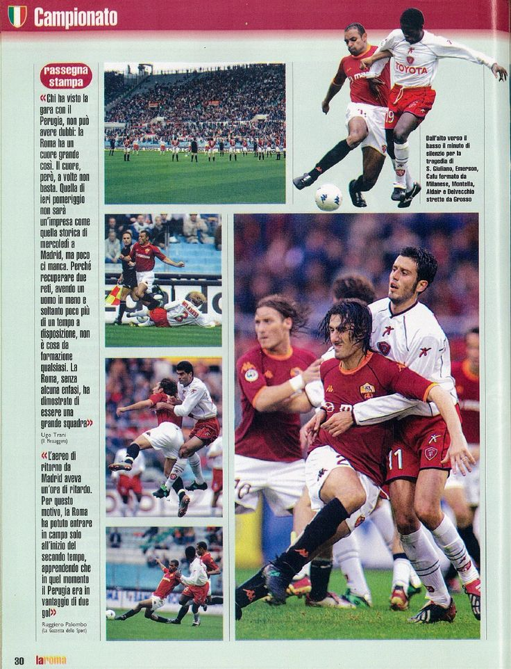 AS Roma 2 Perugia 2 in Nov 2002 at Stadio Olimpico. More action from the Serie A clash.