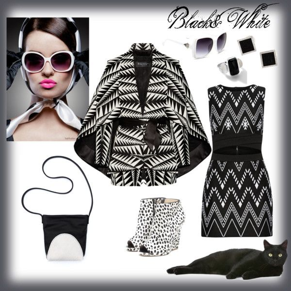 Black&White Print by asya-gorelkina on Polyvore featuring мода, DKNY, Balmain, Yvel and Ippolita
