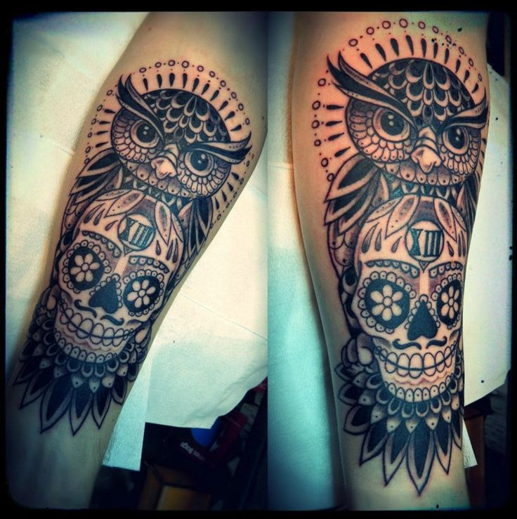Cool Owl and Skull Tattoo on Leg for Men