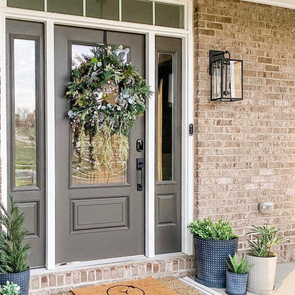 Manor Outdoor Glass Iron Sconce Pottery Barn In 2020 Brick House Front Door Colors Painted Front Doors Exterior Door Colors