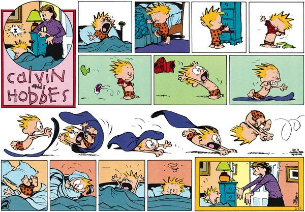 I don't think mom's buying it...: Mom Buy, Mornings Time, Ems Casa, Calvin Genius, Sunday Funny, Calvin And Hobbes, Blankets Struggling, Funny Comic, Lá Ems