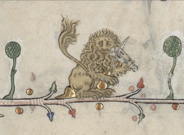 Lion playing the viella  Summer volume of the Breviary of Renaud/Marguerite de Bar, Metz ca. 1302-1305 (Verdun, Bibliothèque municipale, ms. 107, fol. 26r).