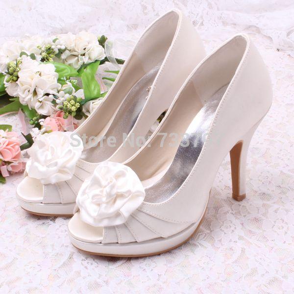 Wedopus MW149 Сладкий Стиль Леди Насос Обувь Пятки Платформы Свадебные Белые Каблуки с Цветком