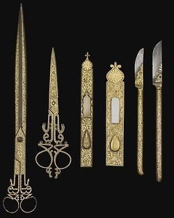 an Ottoman set of damascened calligrapher's tools, XIX century.