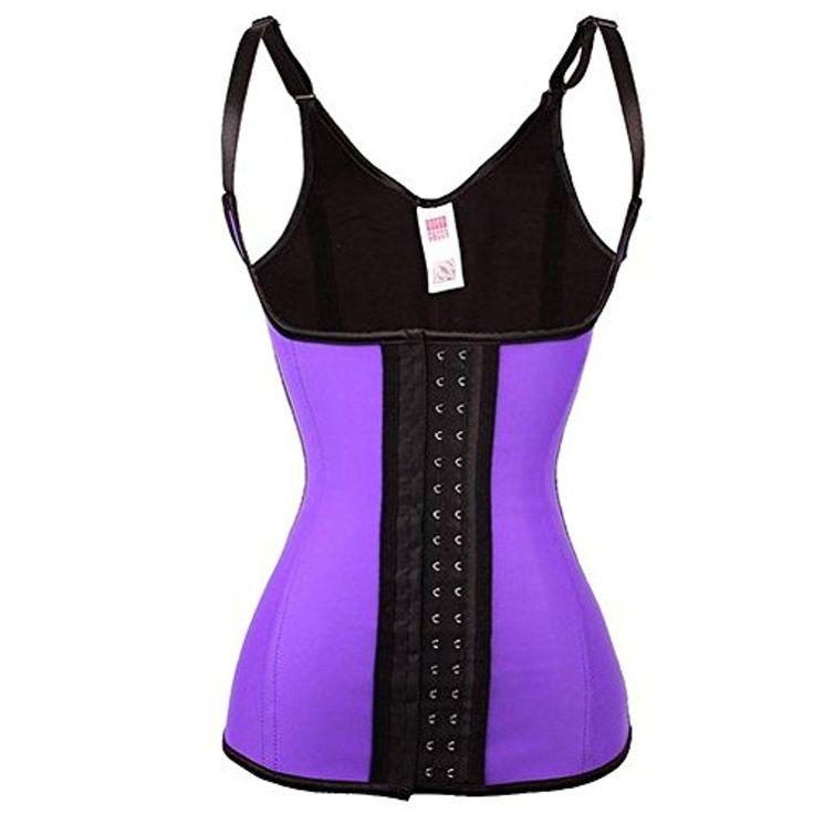 WONDER-BEAUTY Women Corset Latex Waist Trainer Vest Waist Cincher Body Shaper,Aubergine-Adjustable Straps,XX-Large - Brought to you by Avarsha.com