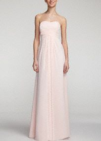 A look and feel that your bridesmaids will love, this long and flowy chiffon dress will set your bridal party apart from the rest!  Strapless a-line silhouette features ultra-feminine pleated bodice.  Long and softflowing chiffon fabricgives this dress a whimsical feel.  Fully lined. Imported. Back zip. Dry clean only.