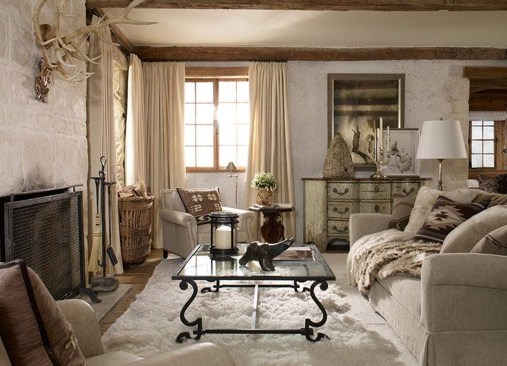 """Ralph Lauren Home Archives, """"Alpine Lodge"""" Living Room, 2012; """"Inspired by the international glamour of a beautifully appointed ski chalet."""""""