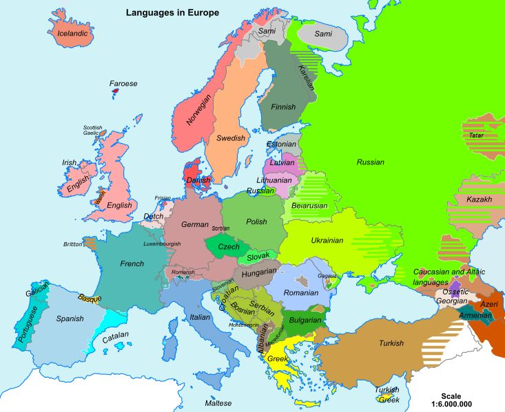 Map of languages in Europe: