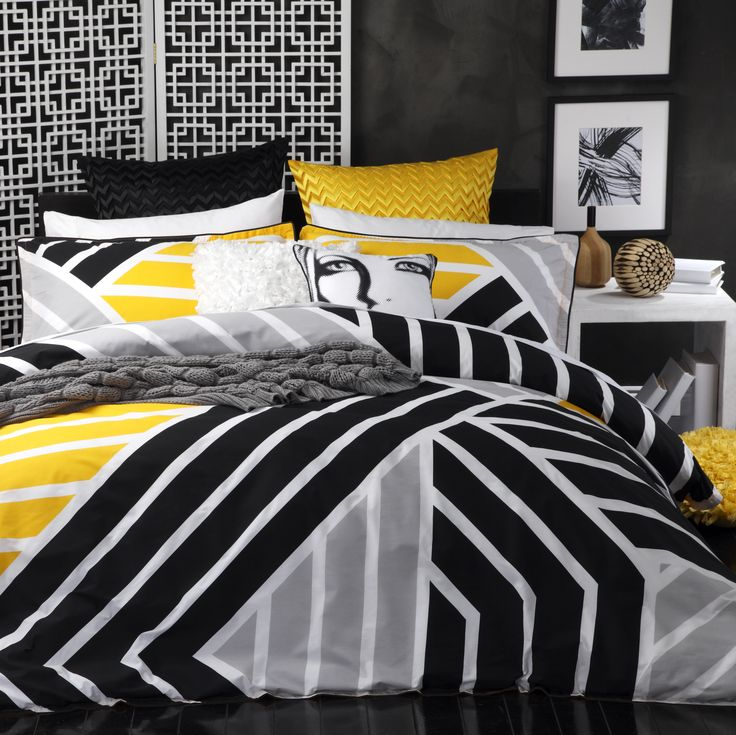 Scout Yellow by Logan & Mason. Available in single, double, queen and king quilt cover sets