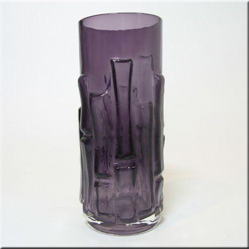 Aseda Glasbruk Swedish purple + clear cased glass bamboo style 'textured bark' vase, designed by Bo Borgstrom, pattern number B5/830, 150mm tall.
