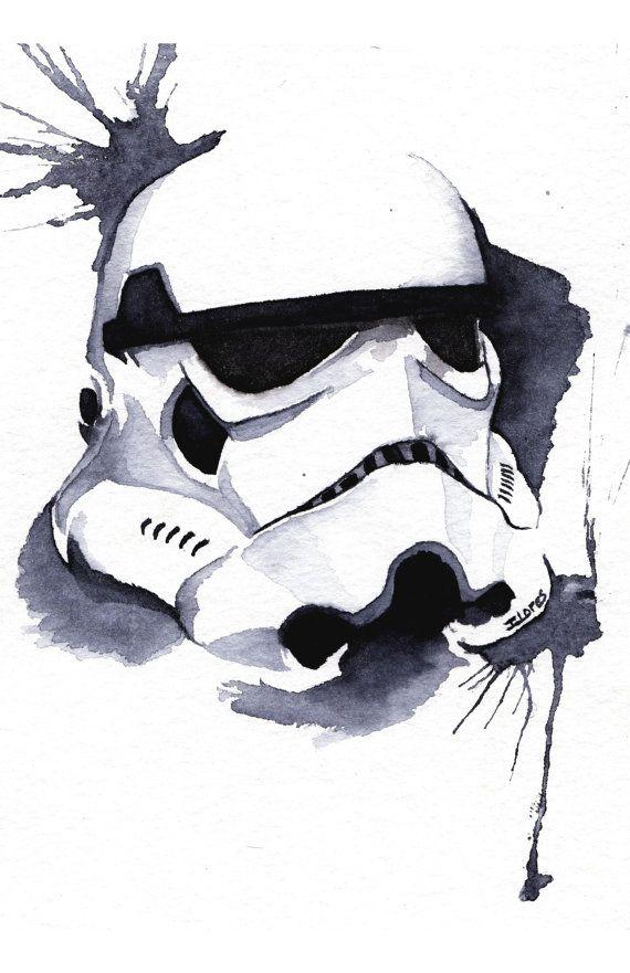 stormtrooper Watercolor art Print Empire Star Wars Decor paint