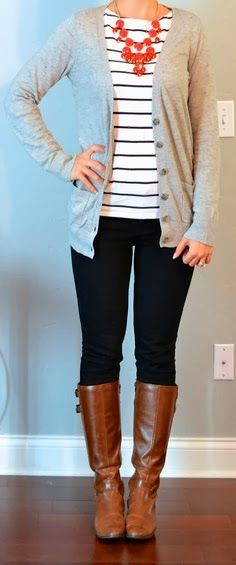 Got to figure out bubble necklace. cardigan, striped top, black pants, boots outfit