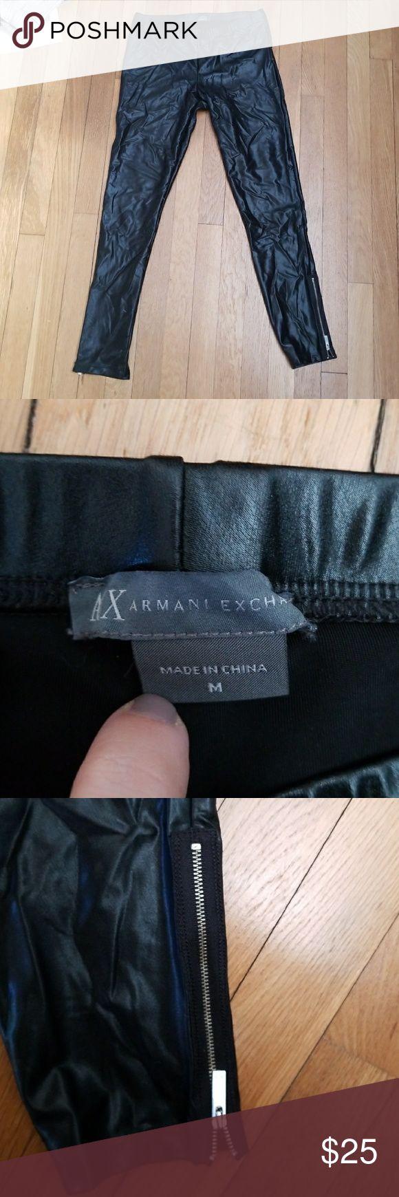 Armani exchange faux leather liquid zip leggings Faux leather look, worn once. Armani Exchange Pants Leggings