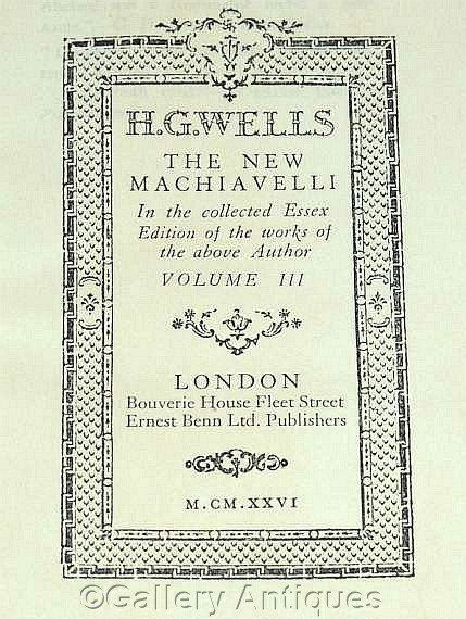 Vintage H G Wells - The New Machiavelli - Collected Essex Edition -- Volume III - Hardback sci fi Book Published in 1926  by GalleryAntiques on Etsy