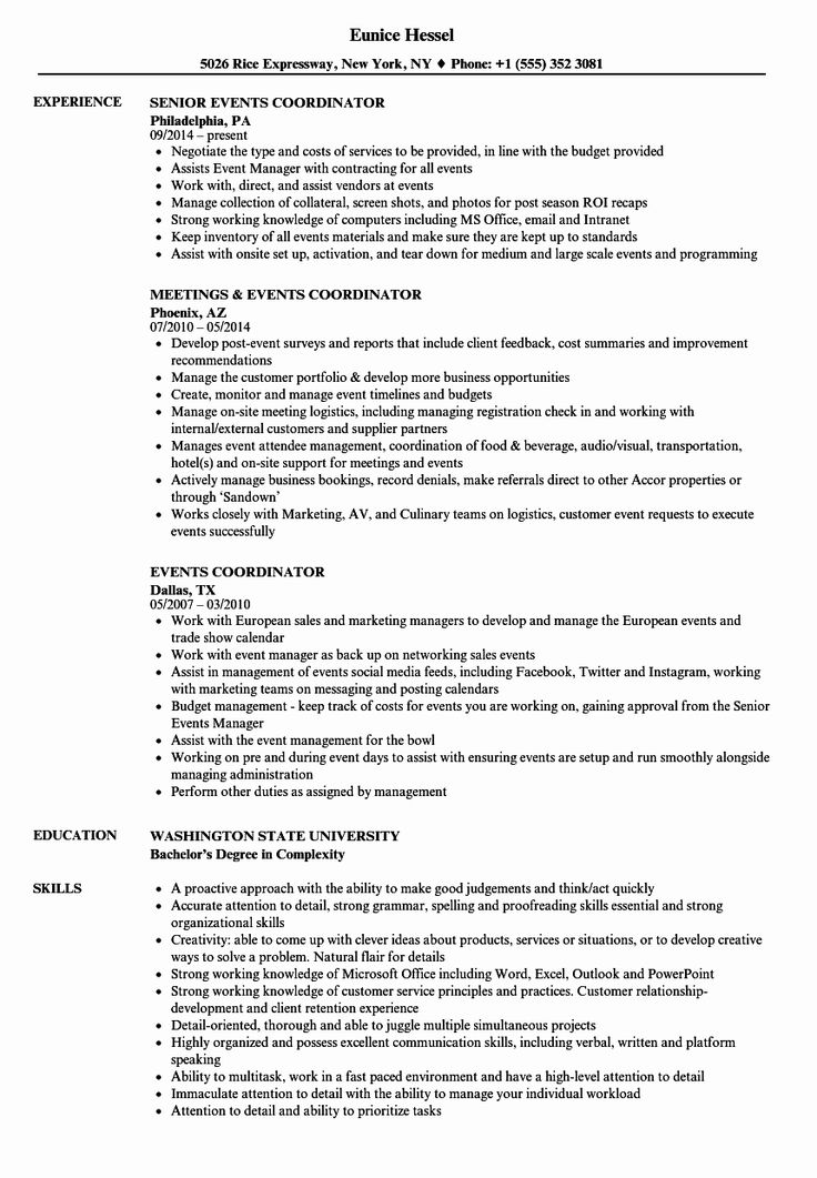 Event Coordinator assistant Resume Luxury events