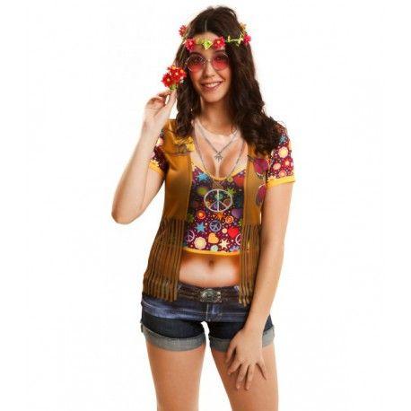 Camiseta Hippie con Chaleco para Mujer #Disfraz #Hippie