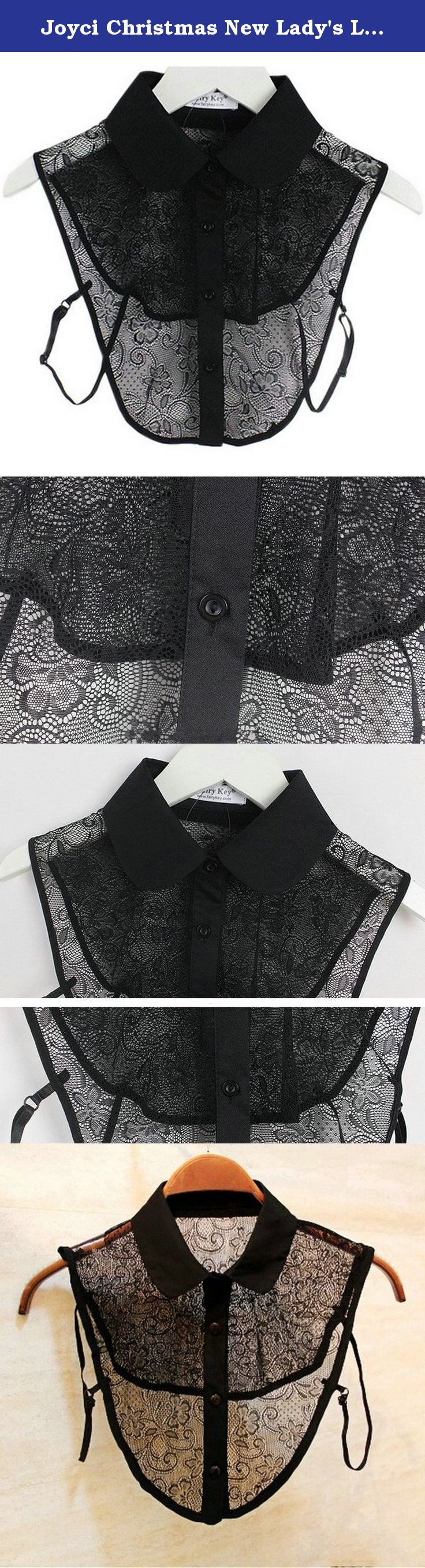 Joyci Christmas New Lady's Lace Hollow Out Half Shirt False Collar Fake (Black). So charming and unique: Elegant fashion lace hollow out fake collar .Easy to wear,realistic collar as if it's a real part of your clothes. Delicate and charming it can decorate your featureless clothing. Perfectly paired under sweaters, jackets, polo shirts, dresses, T-shirts and more. Create endless wardrobe options with the dickey shirtless collar. They provide the illusion of wearing a button down without…