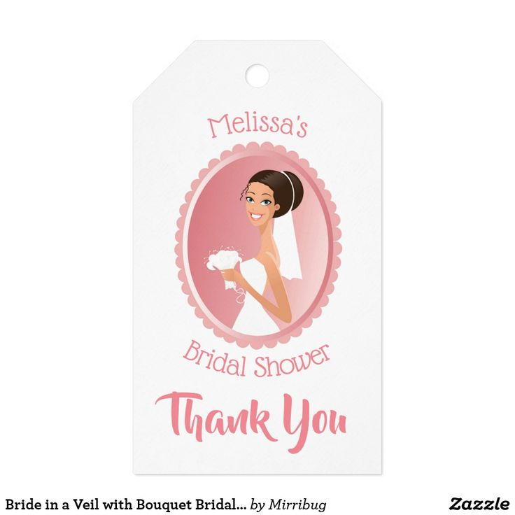 Bride in a Veil with Bouquet Bridal Shower Thanks Gift Tags