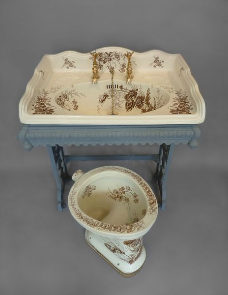 WC with unusual Brown Transfers C.1890 and matching Large Victorian Basin - See more at: http://www.stiffkeybathrooms.com/products/antique-toilets-lavatories/wc-with-unusual-brown-transfers-c1890-and-matching-large-victorian-basin