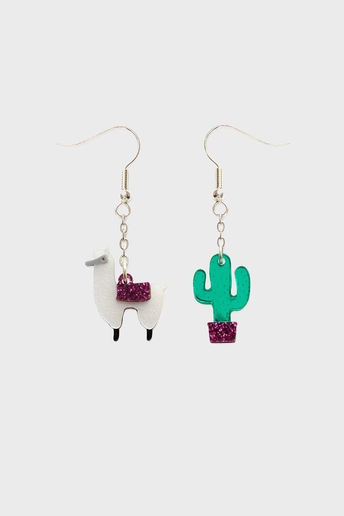 alpaca/cactus earrings by little moose