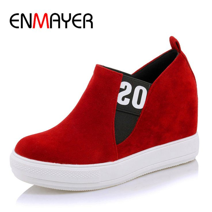Aliexpress.com: Compre Enmayer primavera outono mulheres casuais sapatos flats dedo do pé redondo elástico plataforma tamanho grande 34 45 preto vermelho cinza de confiança women flats fornecedores em ENMAYER Footwear Store