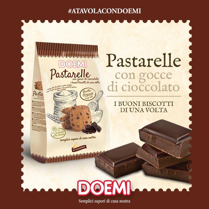 Abbiamo unito gusto e tradizione in un biscotto unico: pastarelle con gocce di cioccolato…irresistibilmente Doemi. Senza olio di palma. ;)  #atavolacondoemi