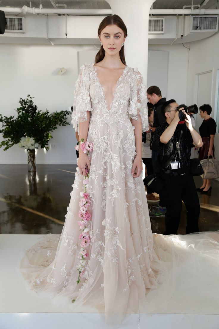 Marchesa's super-feminine style was evident at New York Bridal Fashion Week in an ethereal wedding dress collection inspired by a Greek goddess (BridesMagazine.co.uk)