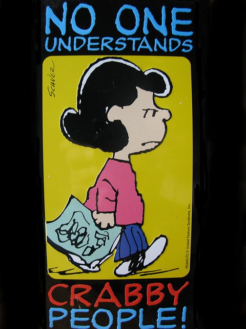 'No One Understands Crabby People', Lucy Van Pelt, Charlie Brown Comics.