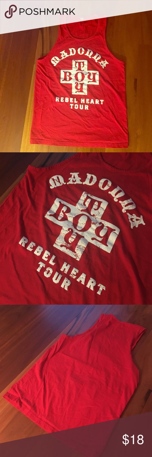 Madonna tour tank top Cute red Madonna Rebel Heart authentic tank top. Worn once. Tops Tank Tops