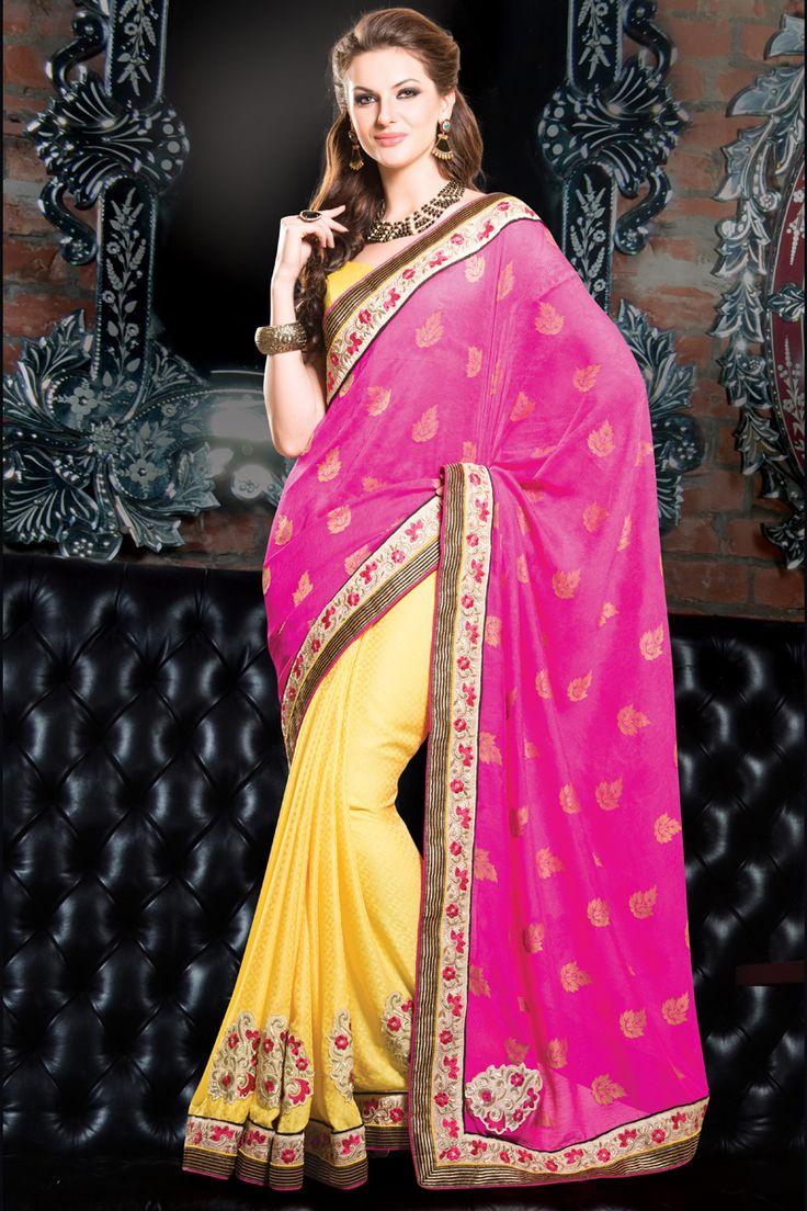 Pink Designer Party Wear Saree Online From Hdbazaar.