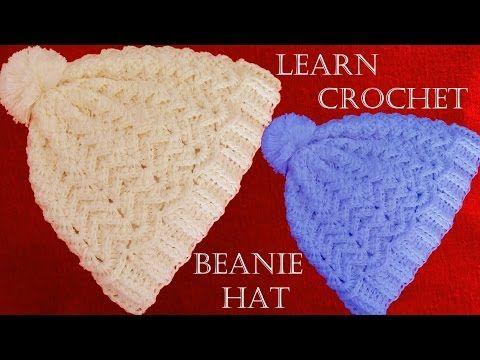 Como tejer gorro con relieve a Crochet o ganchillo - Learn Crochet Beanie How to - YouTube
