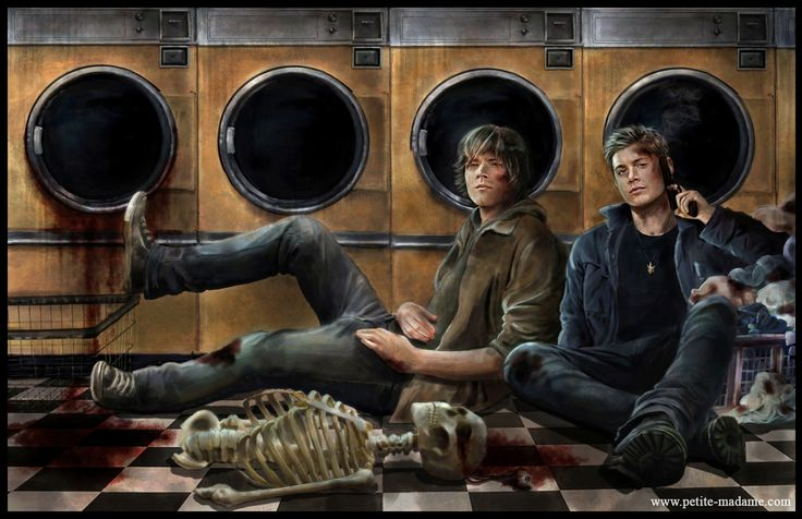 Supernatural winchesters laundry day by www.petitie.madame.com  What an awesome drawing!